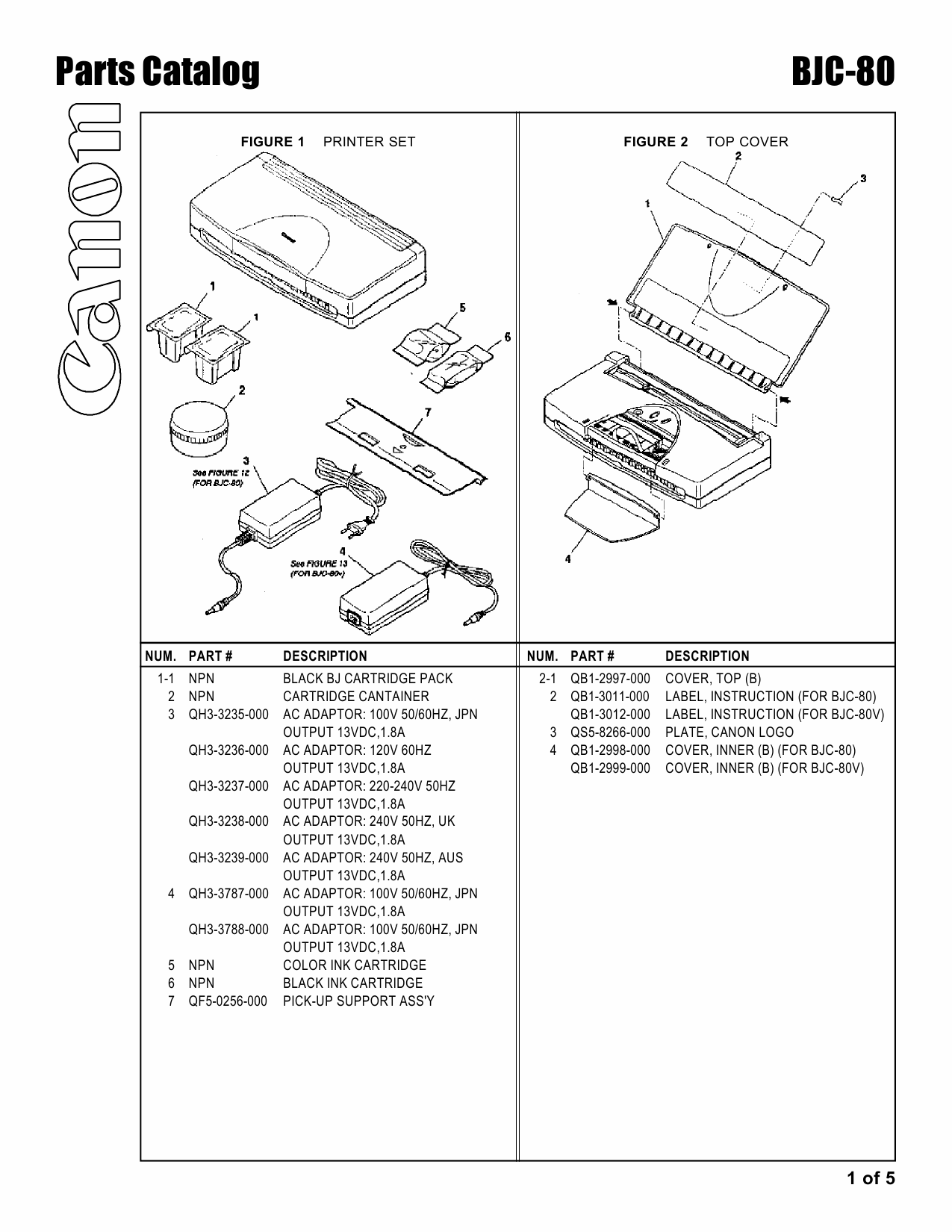 Canon BubbleJet BJC-80 Parts Catalog Manual-2